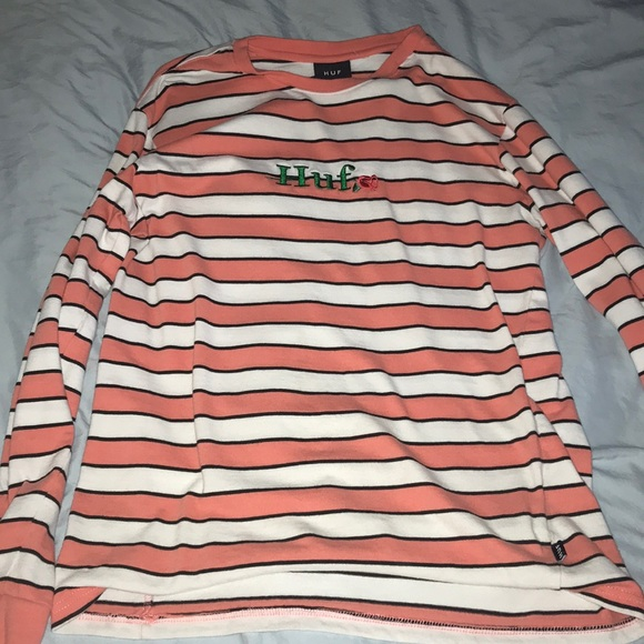 ca42321824 HUF Shirts | Long Sleeve Striped White Cream Shirt | Poshmark